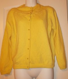 Angelon by Darlene Vintage Lemon Yellow French Angora Rabbit Hair Sweater SZ M