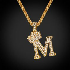 Iced Out Initial M Necklace Diamond Crown Wheat Chain Jewelry Gift For Men & Women Cute Jewelry, Jewelry Gifts, Vintage Jewelry, Chain Jewelry, Jewellery Bracelets, Gold Jewelry, Handmade Jewelry, M Necklace, Letter Necklace