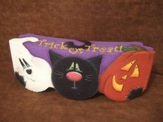 Items similar to Pals Decorative Painting Pattern Packet Halloween on Etsy Painted Bricks Crafts, Brick Crafts, Painted Pavers, Brick Projects, Painted Clay Pots, Painted Rocks, Wood Crafts, Halloween Rocks, Halloween Cards