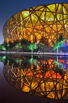 Bird's Nest Stadium in Beijing, China.   Go to www.YourTravelVideos.com or just click on photo for home videos and much more on sites like this.