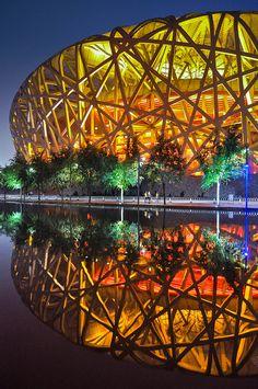 Reflection of Bird's Nest Stadium, #Beijing                                                                                                                                                      More