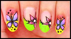 Butterflies & Flowers on Neon nail art Neon Nail Art, Neon Nails, Diy Nails, Nail Tutorials, Design Tutorials, Butterfly Flowers, Butterflies, Youtube Nail Art, Fruit Nail Art