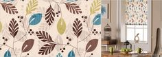 Luxury Beige, Brown, Teal Blue & Lime Green Leafs Patterned Roller Blinds from English Blinds, featuring a beautiful swirling design on a creamy white background. Brown Teal, Teal Blue, Home Decor Inspiration, Contemporary Style, Kitchen Ideas, Lime, English, Living Room, Lima