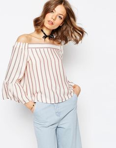 e754438c14b8d ASOS Stripe Off the Shoulder Top Asos Tops