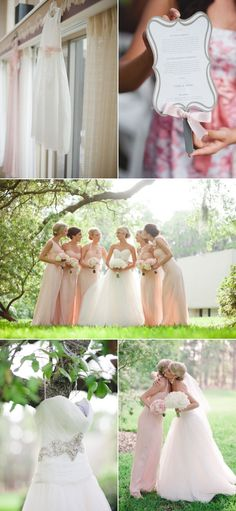 Soft pinks and whites against green. However, I really love the way the style of the wedding dress and the style of the bridesmaid dresses really go together.