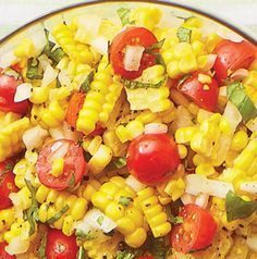 Fresh Corn & Tomato Salad - 4 ears corn, 2 lg tomatoes, halved, 1 small sweet onion, chopped, basil, chopped (about 1/3 c.), 2 tbsp white vinegar, 2 tbsp olive oil, 1/4 tsp sea salt, 1/8 tsp pepper. Boil corn in water for about 7 minutes. Remove corn and plunge into cold water. Cut corn off cob and set aside to cool completely. In a large bowl, combine cooled corn, tomatoes, onion and basil. Toss with vinegar and olive oil. Season with sea salt and pepper. Serve chilled or at room…