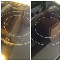 How to get burn marks out of your glass top stove. It works! This is actually my stove. I tried EVERYTHING before this :) (I may do it one more time to get it all) All you need is baking soda, peroxide, and a rag :)
