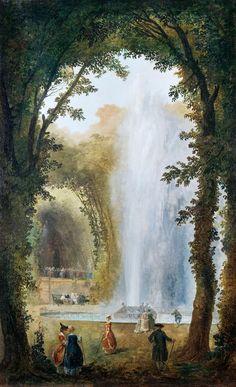 Hubert Robert (1733-1808), Jet d'eau dans le bosquet des Musés à Marly, c. 1775 - 1780