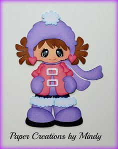 Craftecafe Mindy Winter Snow  girl premade paper piecing for scrapbook page