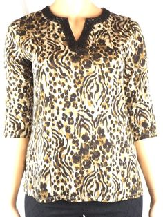 New Charter Club V-neck Knit Top Leopard Print Cotton 3/4 Sleeve Size 0X NWT #CharterClub #KnitTop #Casual