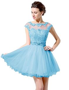 Belle House Sky Blue Short Sheer Neck Prom Gown Homecoming Dresses * You can find more details by visiting the image link.