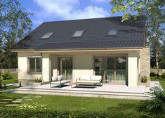 Projekt domu: MAŁGOSIA wersja F z garażem z boku, z poddaszem, z wykuszem - Wizualizacja Modern Bungalow, Concept Home, Pool Houses, Modern House Design, My House, Architecture Design, House Plans, Construction, Exterior