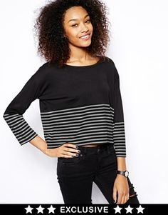 Image 1 of Monki Exclusive Stripe Long Sleeve Top