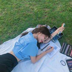 Image may contain: one or more people, people sitting, grass and outdoor Photography Poses Women, Girl Photography, Blue Aesthetic Pastel, Ulzzang Korean Girl, Asian Babies, Uzzlang Girl, Korean Aesthetic, Insta Photo Ideas, Ulzzang Fashion