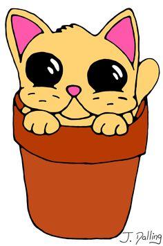 Flower pot cat