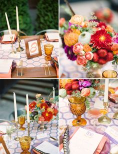 Colorful Bohemian Wedding Inspiration via Green Wedding Shoes | red, yellow, mint, gold, peach, candles