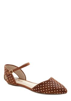 Know Your Tuft Flat - Brown, White, Polka Dots, Cutout, Casual, Fall