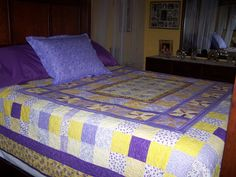 changed color in bedroom made this lilac /yellow quilt, now I need to make new shams too
