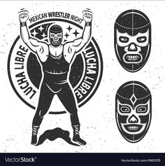 Illustration of Mexican wrestler set. Vector illustration vector art, clipart and stock vectors. Halloween Poster, Halloween Party Costumes, Luchador Mask, Halloween Bottle Labels, Mexican Wrestler, Fish Icon, Classic Cartoon Characters, Handmade Christmas Decorations, Poster Vintage