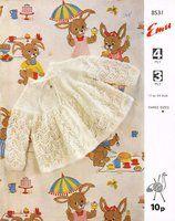Emu 8531 - lettuce leaf stitch - baby matinee coat - vintage knitting pattern -