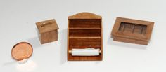 Teekästchen, Teedose und Gewürzboard mit Küchenpapierhalter 1:12 Design & handcrafted by Kreamini