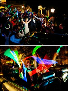 Make a grand getaway with glow sticks! @weddingchicks #glowsticks #wedding