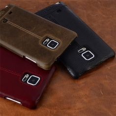 Pierre Cardin Genuine Leather For Samsung Galaxy Note 4/Note 5/Note 7 Vintage Slim Hard Back Cover Cases