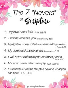 """Bible Verses About Faith:Seven """"Nevers"""" in Scripture you can Always Count On - Powerful Scriptures, Prayer Scriptures, Bible Prayers, Bible Verses Quotes, Bible Verses About Faith, Healing Scriptures, Bible Teachings, Religion, Bible Knowledge"""