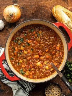 This tomato lentil soup is full of vegetables and herbs for a simple yet flavorful warming winter soup. Makes great leftovers! BudgetBytes.com