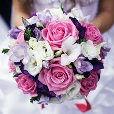 Gorgeous bridal bouquet with mixed flowers
