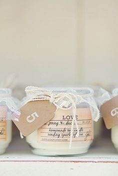 Make a homemade candle with your love and then send it home with your guests as favors!