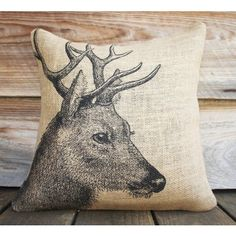 Deer Print Burlap Pillow by The Watson Shop - so cute for rustic room decor