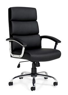 Offices To Go High-Back Luxhide Executive Chair Used Office Chairs, Office Chair Without Wheels, Executive Office Chairs, Home Office Chairs, Office Furniture, White Dining Chairs, Living Room Chairs, Accent Chairs, Black Chairs