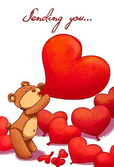 """""""A teddy bear heart"""" printable card. Customize, add text and photos. print for free! #Valentine's day #Card"""
