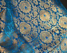 Silk Brocade Fabric Turquoise Gold Weaving, Banaras Brocade Fabric, Indian Silk, Wedding Dress Fabric, Pure Banarasi Silk Fabric by the Yard Ethereal Wedding Dress, Modest Wedding Dresses, Wedding Gowns, Ivory Wedding, Fall Wedding, Brocade Suits, Brocade Fabric, Jacquard Fabric, Indian Fabric
