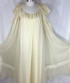 Made of all nylon. Made in the USA. The color is a warm, yellowed ivory.I believe this set is from the '60s. Full-length nightgown features a ruffle of floral lace trim over a sheer inset at the neckline.The gown is constructed of two layers with a silky underskirt and a sheer overlay. | eBay!