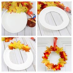 ▷ 1001 + tutos et idées sympas d'activité manuelle maternelle d'automne ▷ 1001 + tutorials and cool ideas for fall nursery manual activity wreath of dead leaves on a paper hoop cut from a paper plate, fall decoration to do even easily Fall Crafts For Kids, Thanksgiving Crafts, Diy And Crafts, Nursery Activities, Ideas Geniales, Creative Walls, Creative Decor, Autumn Activities, Diy Tutorial