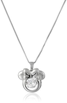 "Disney Sterling Silver Minnie Mouse with Cubic Zirconia Pendant Necklace, 18"". Made in Thailand. Disney Jewelry. Imported."