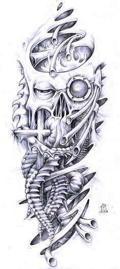 Biomechanical tattoo Skull tattoo design and Tattoo designs on . Biomech Tattoo, Biomechanical Tattoo Design, Skull Tattoo Design, Tattoo Sleeve Designs, Skull Tattoos, Arm Tattoo, Body Art Tattoos, Sleeve Tattoos, Badass Tattoos
