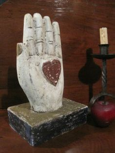 Antique American Folk Art Carved Wooden Paint Decorated Heart in Hand AAFA | eBay