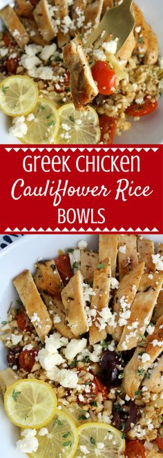 Greek Chicken Cauliflower Rice Bowls Looking for an easy, fresh lunch or dinner? Try these gluten free and paleo friendly Greek Chicken Cauliflower Rice Bowls! So tasty and simple to make! This post is sponsored by ShopRite but all opinions are my own. Greek Recipes, Gluten Free Recipes, Low Carb Recipes, Vegetarian Recipes, Cooking Recipes, Healthy Recipes, Rice Recipes, Healthy Options, Vegetarian Bowl