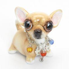 Cute Chihuahua Ceramic Mini Piggy Bank 00014 Dog Lover Gift Colorful Bead Collar