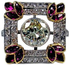 1900s Austria Art Nouveau 1.25 Carats Diamonds Rubies Silver Gold Cluster Ring | See more rare vintage Cluster Rings at https://www.1stdibs.com/jewelry/rings/cluster-rings