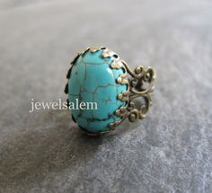 Turquoise Ring Big Blue Ring Gift Gemstone Ring Antique Brass Vintage Style Modern Victorian Rustic Statement Stone Ring - Jewelsalem
