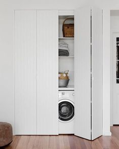 Discover the best doors for your small laundry alcove — Verity Jayne Neat and stylish bifold doors using VJ style panels, hiding a laundry. European Laundry, Laundry Room Design, Bathroom Renovations, Hidden Laundry, Laundry Doors, Laundry In Kitchen, Bifold Doors, Laundry Cupboard, Apartment Bathroom