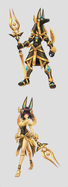 lost saga hereos at DuckDuckGo Egyptian Mythology, Egyptian Art, Egyptian Anubis, Character Concept, Character Art, Concept Art, Chibi, Gods And Goddesses, Anime Comics