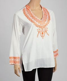 Orange & White Embroidered V-Neck Tunic - Plus #zulily #zulilyfinds