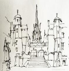 Weekend in Edinburgh : Liz Steel Watercolor Architecture, Architecture Sketchbook, Travel Sketchbook, Artist Sketchbook, Landscape Sketch, Landscape Drawings, Cool Sketches, Drawing Sketches, Model Sketch
