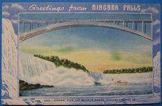Niagara Falls, Rainbow Bridge   vintage linen era  postcard