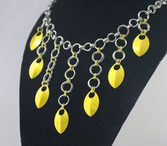 Sun Drop Chainmaille Cascading Scale Necklace